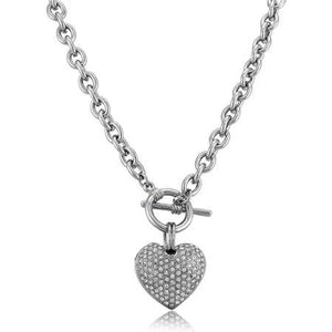 Rhodium Base Heart Toggle Pendant Necklace