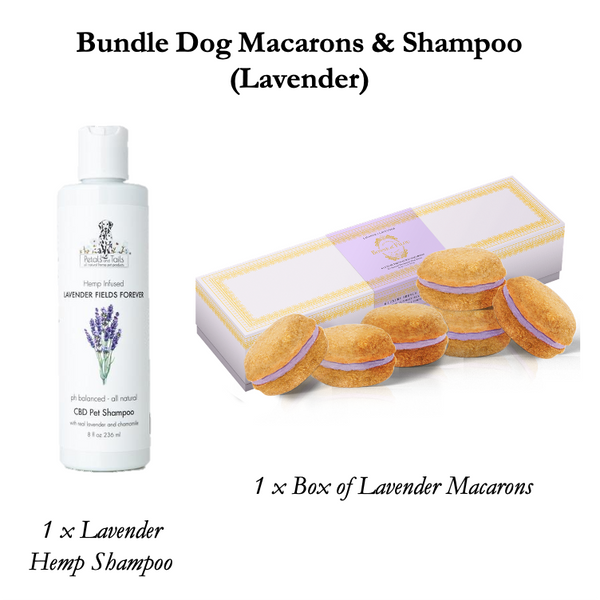 Lavender Fields Forever CBD shampoo and Lavender Dog Macarons