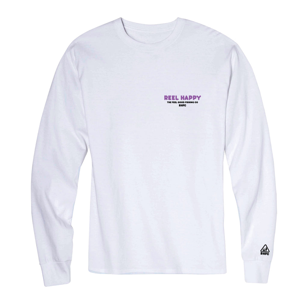 Good Times LS Tee - White - Reel Happy Co