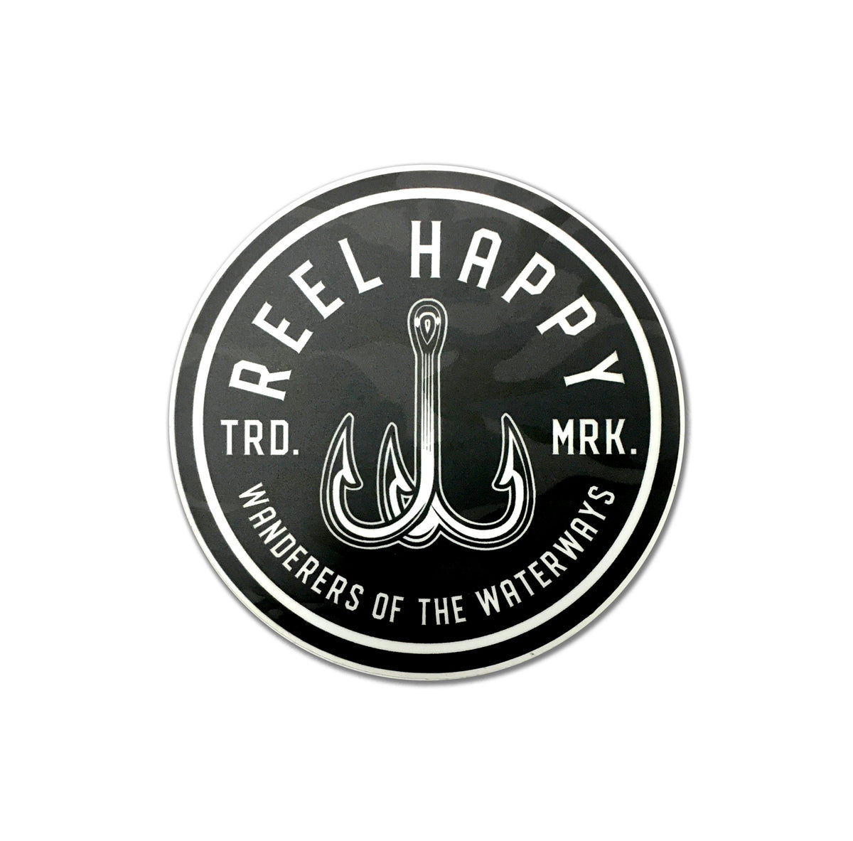 Black Camo Treble Hook Logo Sticker - Black - Reel Happy Co