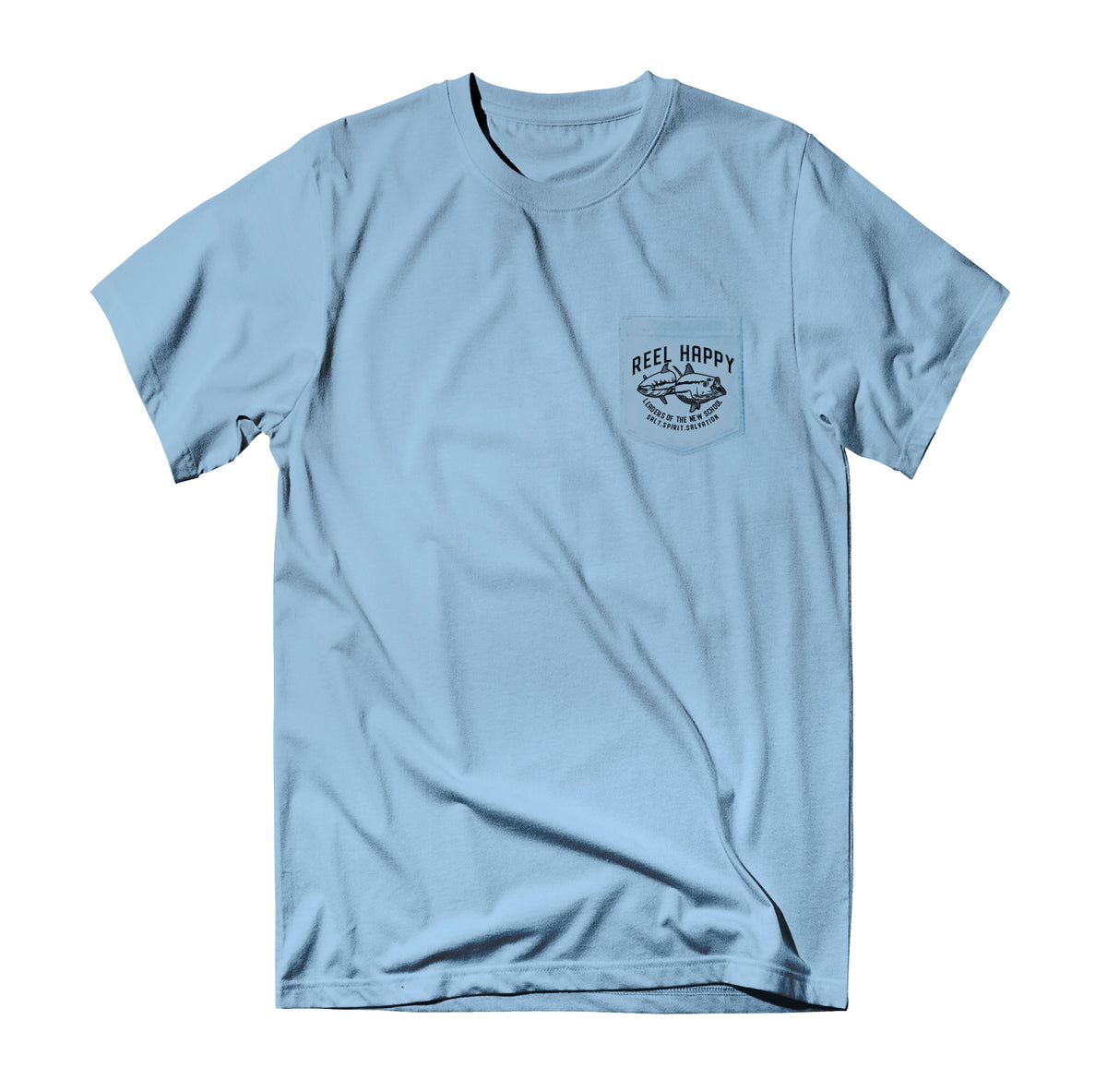 True School Pocket T-Shirt - Light Blue - Reel Happy Co