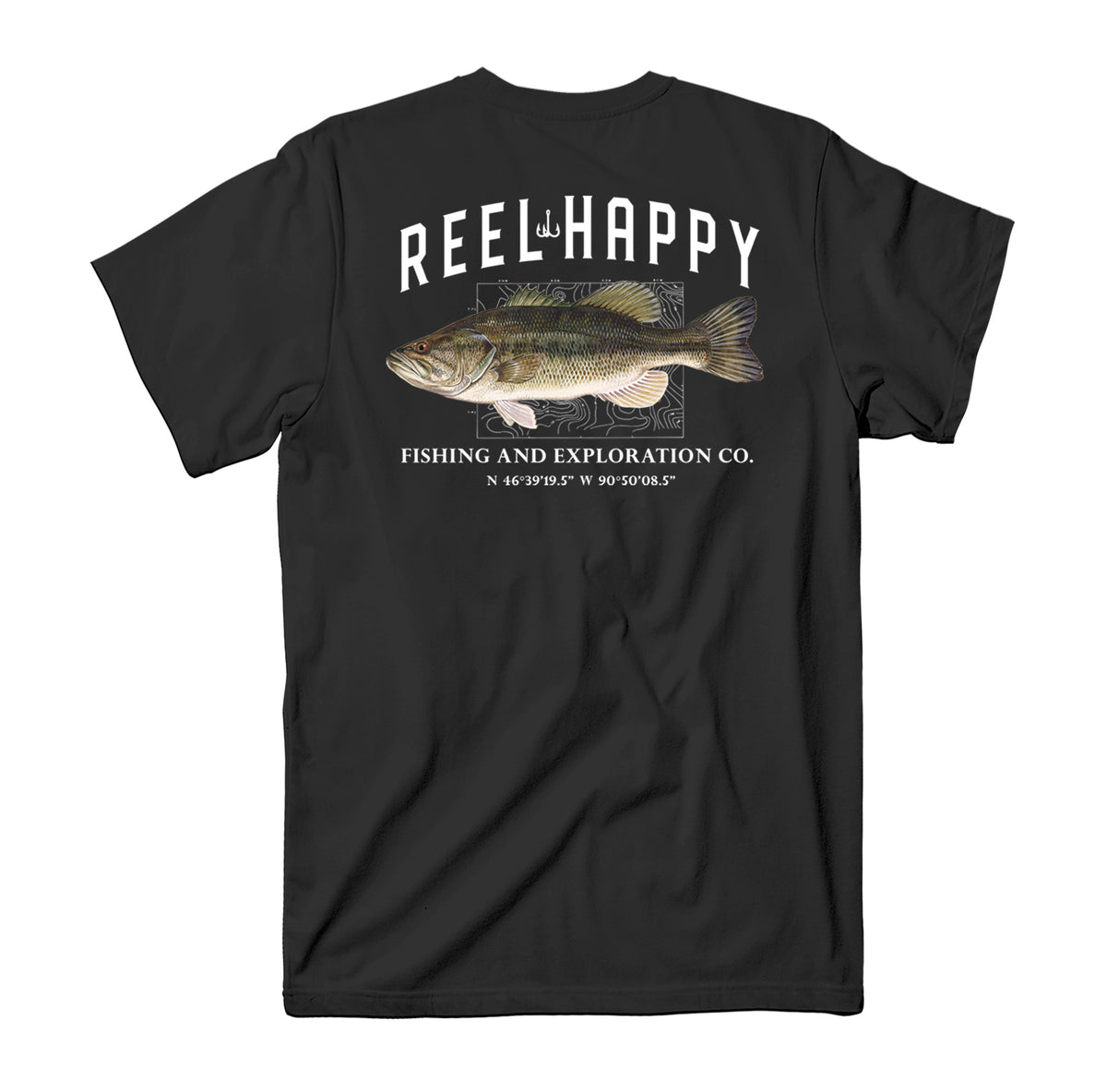 Topo Bass Tee - Black - Reel Happy Co