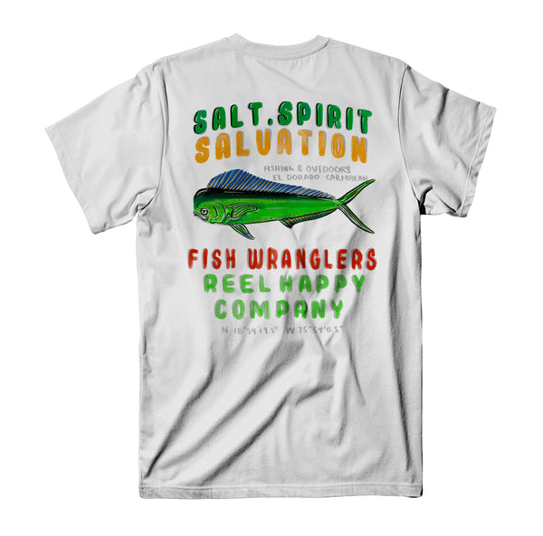 Fish Wranglers T-Shirt - White - Reel Happy Co