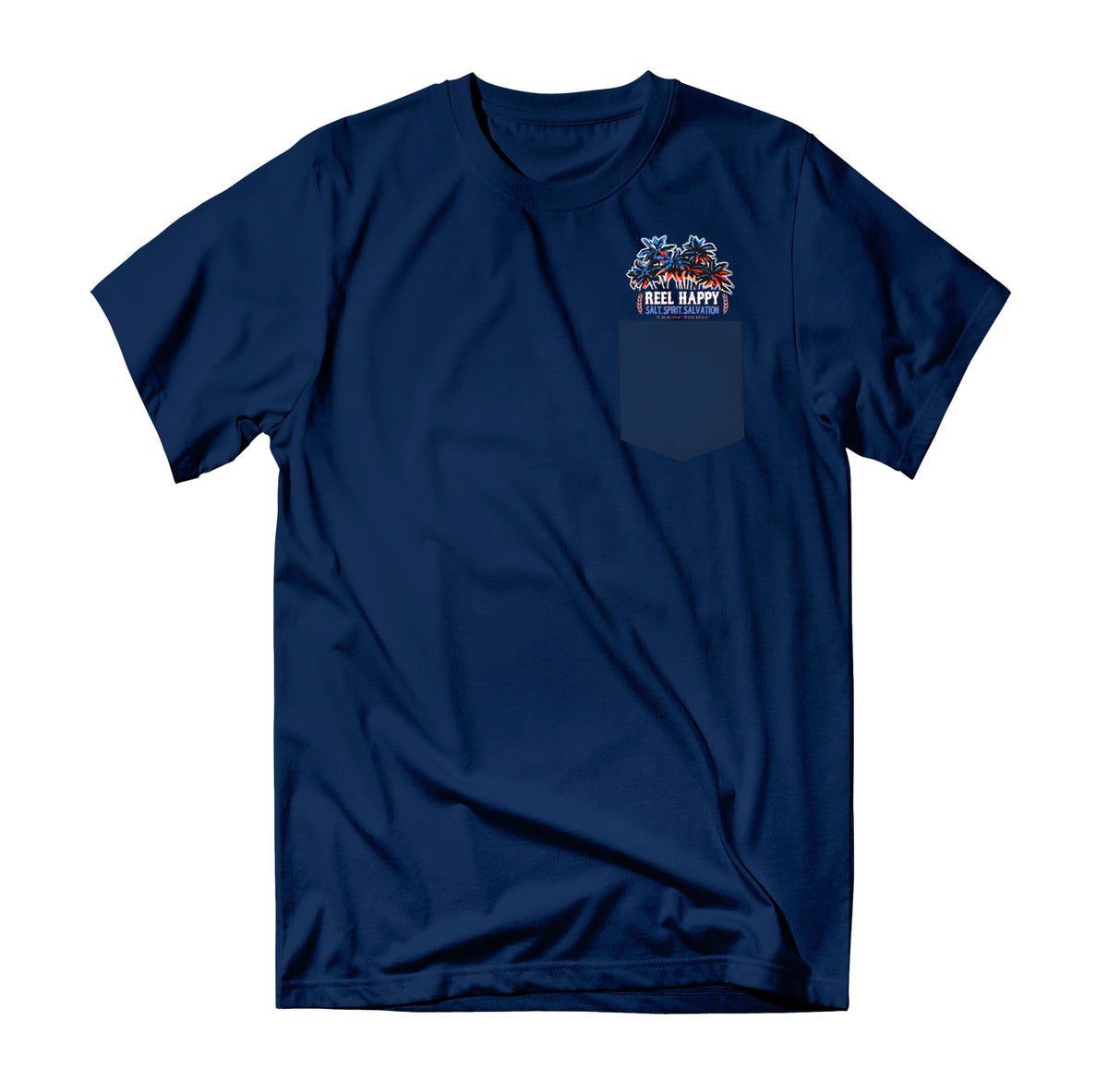 Happy Hour Pocket T-Shirt - Navy - Reel Happy Co