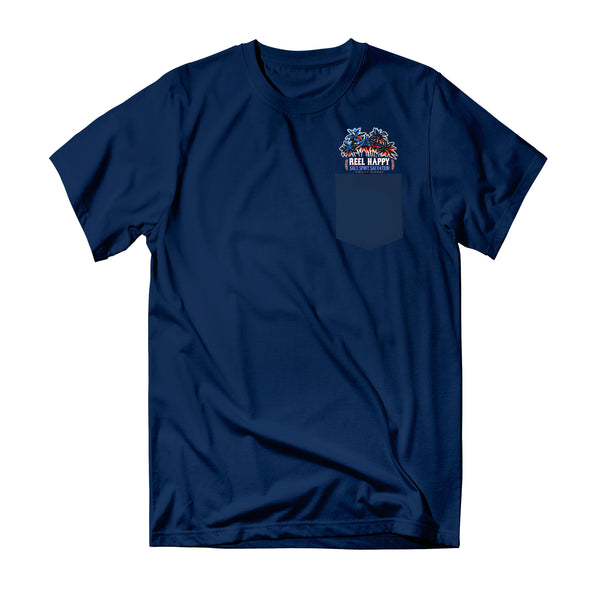 Happy Hour Pocket Tee - Navy - Reel Happy Co