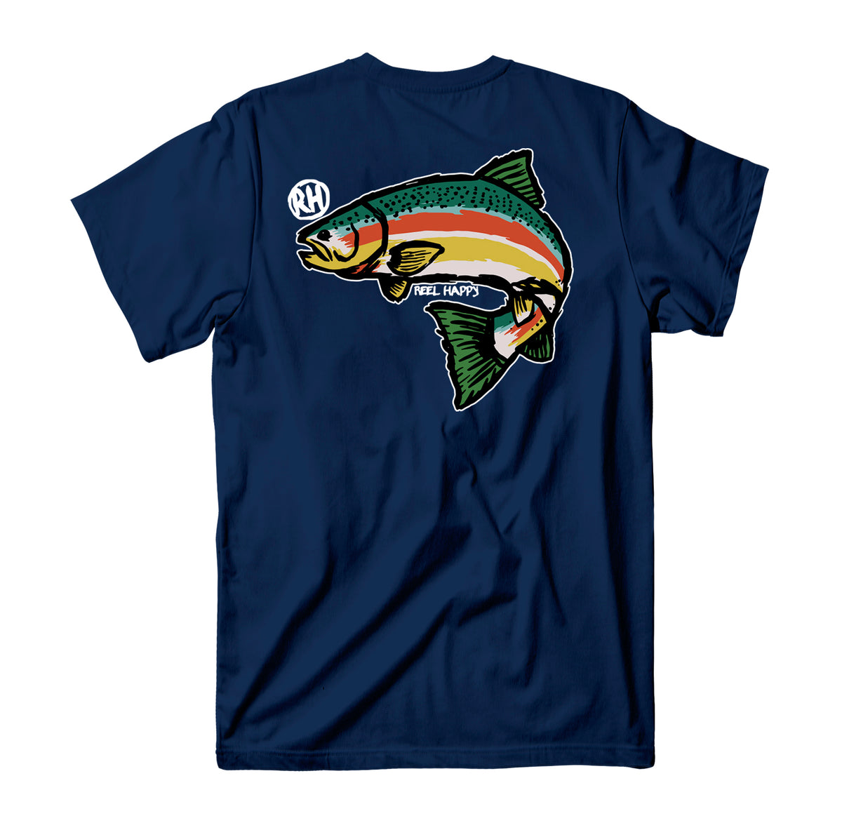 Trout Blender T-Shirt - Navy - Reel Happy Co