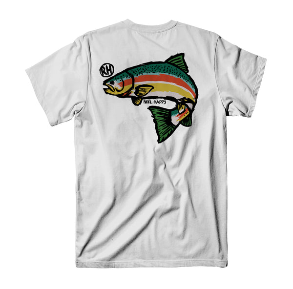 Trout Blender T-Shirt - White - Reel Happy Co