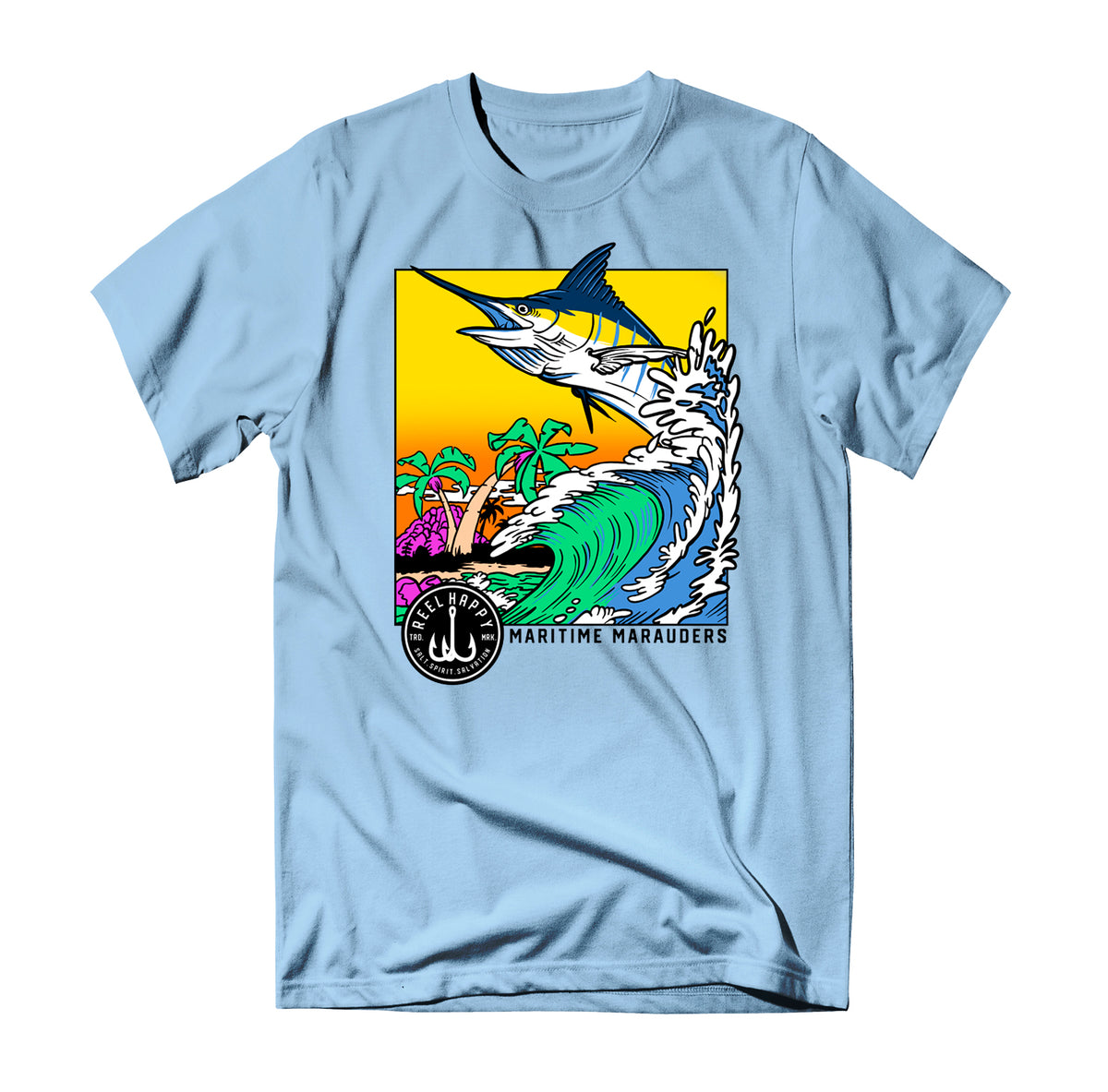 Bob Marlin T-Shirt - Light Blue - Reel Happy Co
