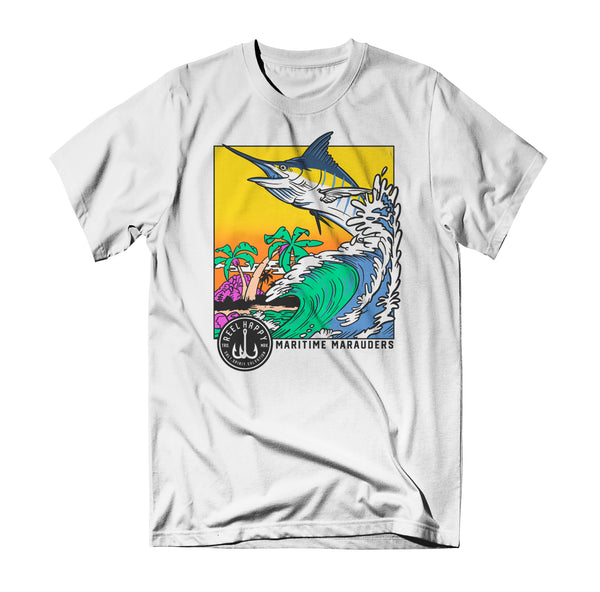 Bob Marlin Tee - White - Reel Happy Co