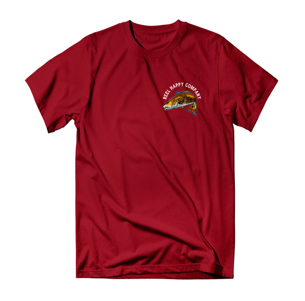 GS Red Fish T-Shirt - Cherry Red - Reel Happy Co