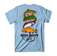 Trout Stack Tee - Light Blue - Reel Happy Co