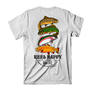 Trout Stack T-Shirt - White - Reel Happy Co