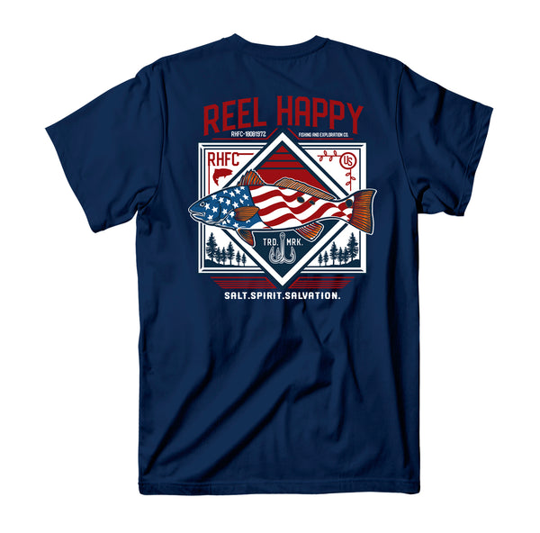 Red Fish Flag T-Shirt - Navy - Reel Happy Co