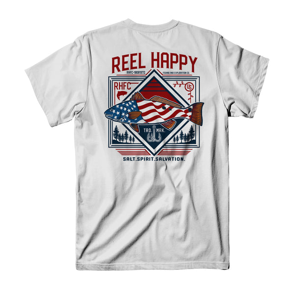 Red Fish Flag T-Shirt - White - Reel Happy Co