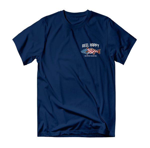 Red Fish Flag Tee - Navy - Reel Happy Co
