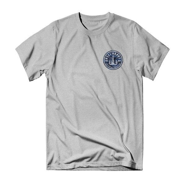Ocean Camo Logo Tee - Heather Grey - Reel Happy Co