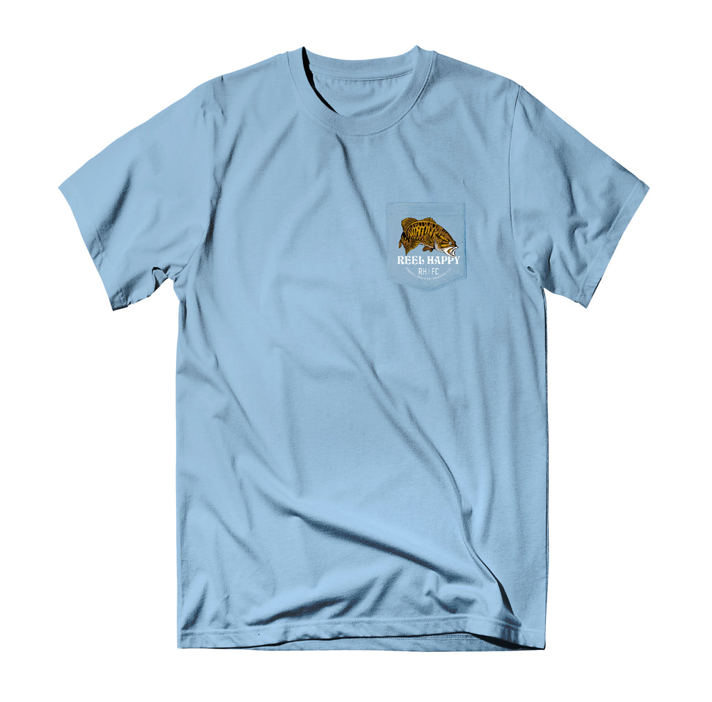 Bass Stack Pocket Tee - Light Blue - Reel Happy Co