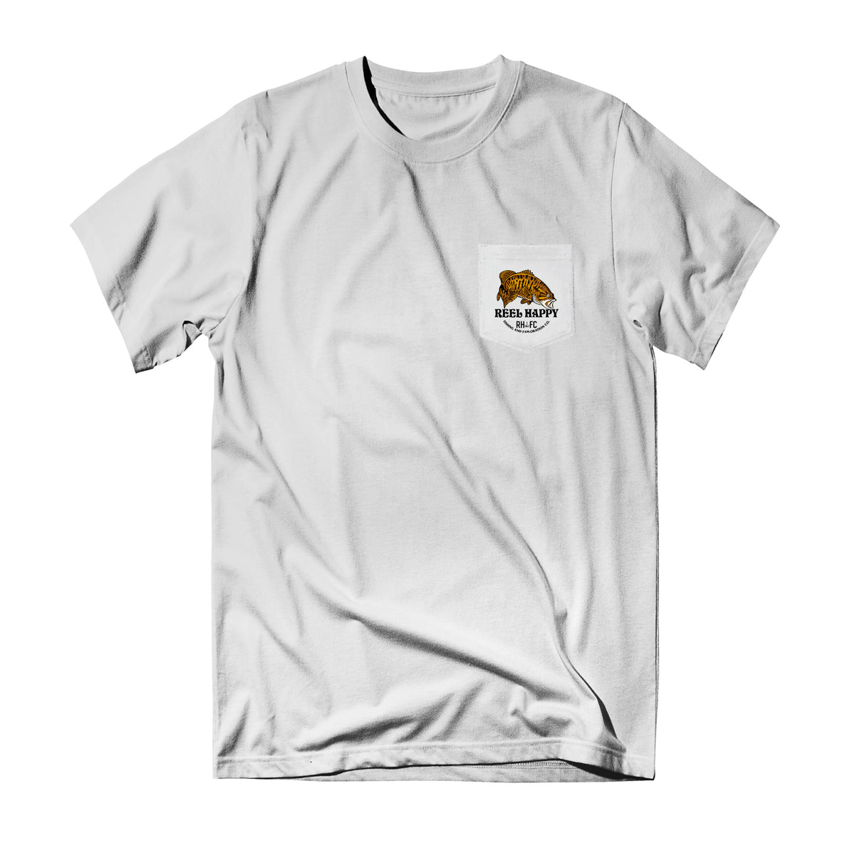 Bass Stack Pocket Tee - White - Reel Happy Co