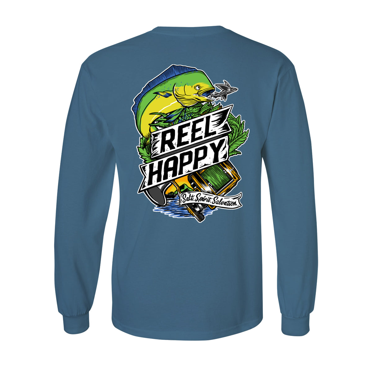 Mahi Mahi LS Tee - Indigo Blue - Reel Happy Co