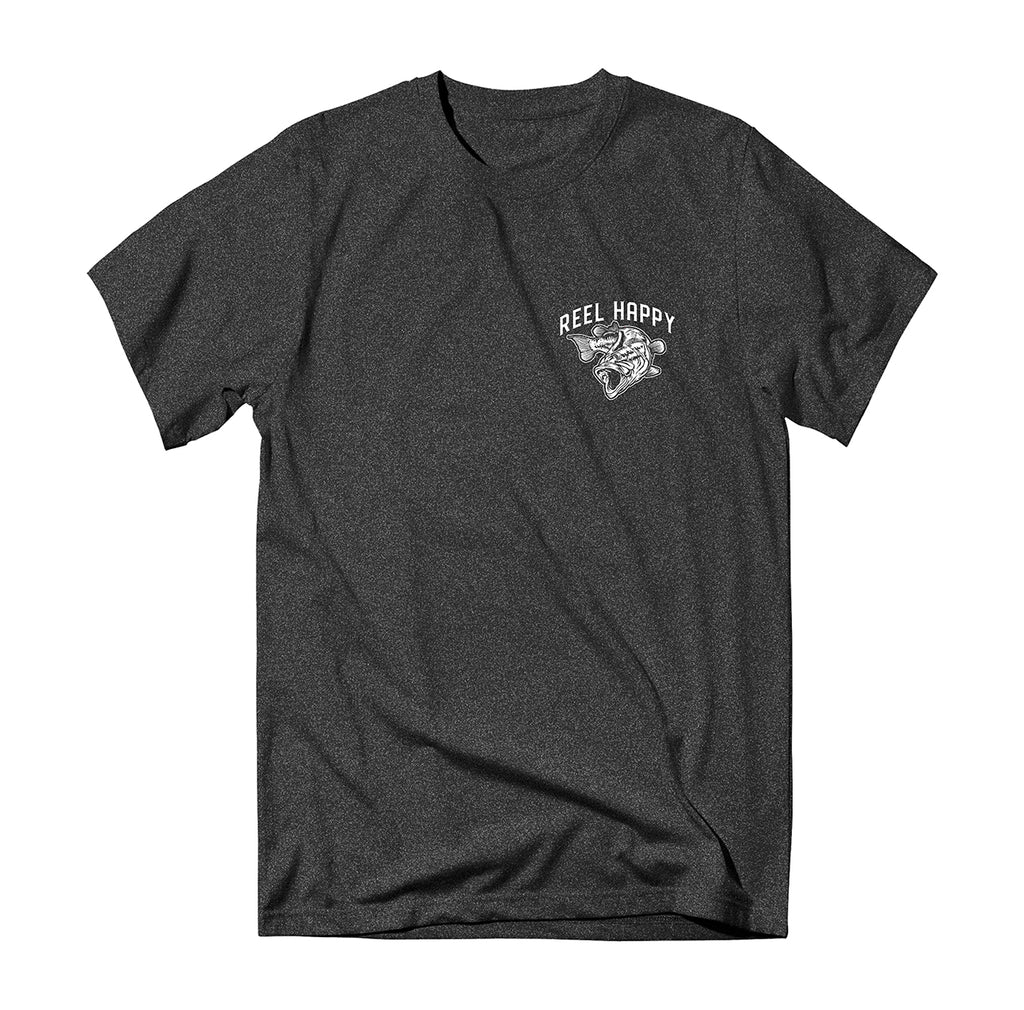 Bass School Tee - Black Heather - Reel Happy Co