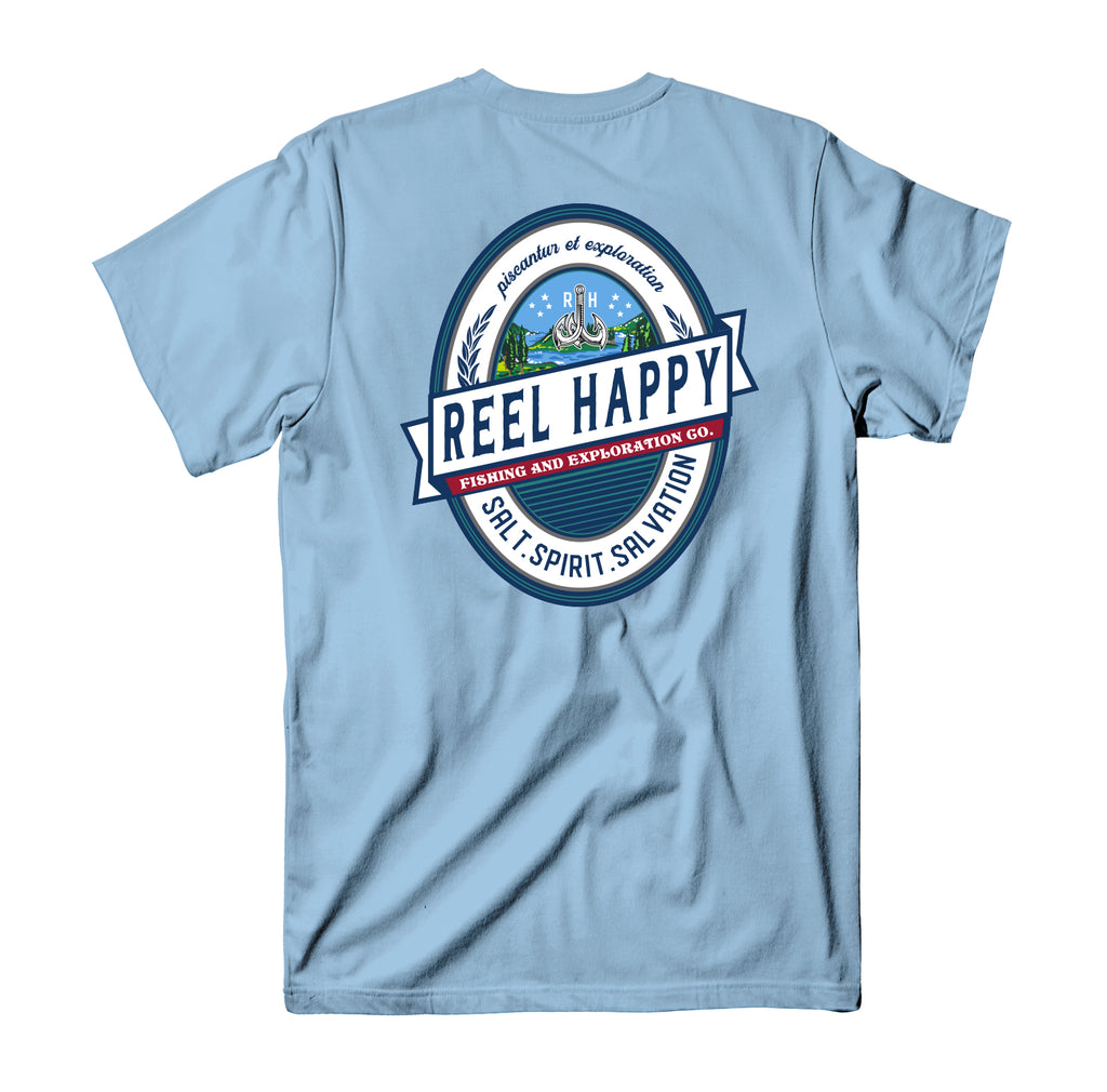Explore Label Tee - Light Blue - Reel Happy Co