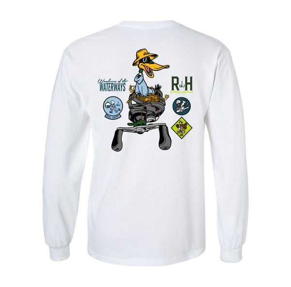 Backlash Bandits LS Tee - White - Reel Happy Co