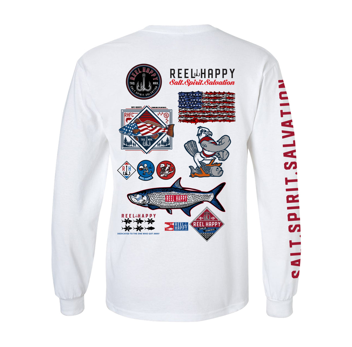 Sponsor LS Tee - White - Reel Happy Co