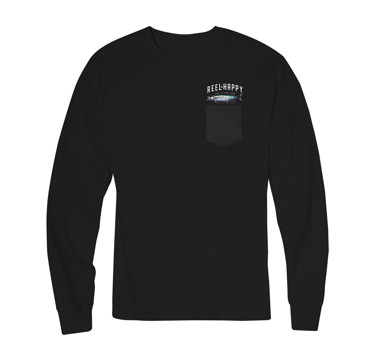King Mack Long Sleeve Pocket Tee - Black - Reel Happy Co