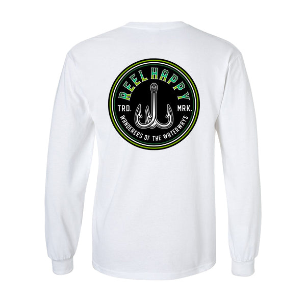 Treble Fade Long Sleeve Tee - White - Reel Happy Co