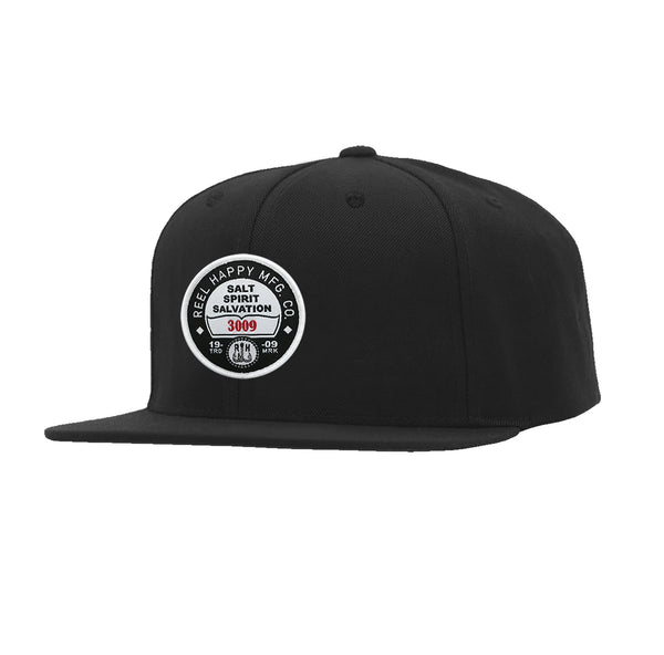 Registration Snapback Hat - Black - Reel Happy Co