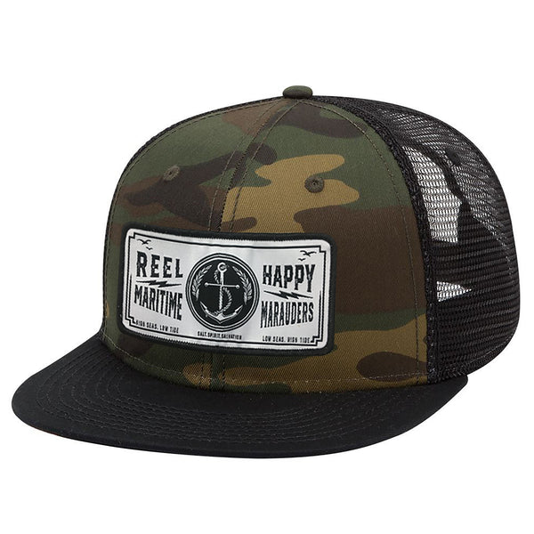 Camo Anchor Trucker Snapback Hat - Reel Happy Co
