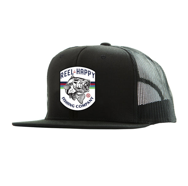 Bass Crest Trucker Hat - Black - Reel Happy Co