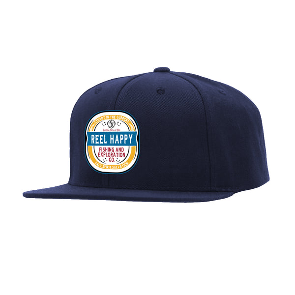 Turnt Label Snapback Hat - Navy - Reel Happy Co