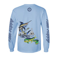 Island Hopper Performance Fishing T-Shirt UPF 40+ - Light Blue - Reel Happy Co