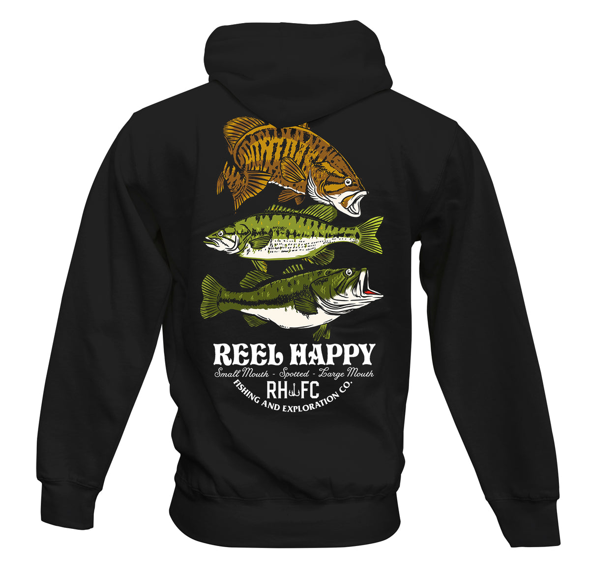 Bass Stack Hoodie - Black - Reel Happy Co