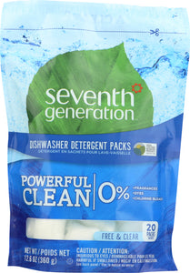 SEVENTH GENERATION: Natural Dishwasher Detergent Packs Free & Clear 20 packs, 12.6 oz