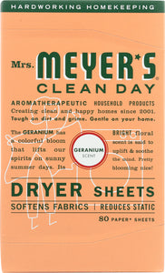 MRS. MEYER'S: Clean Day Dryer Sheets Geranium Scent, 80 sheets