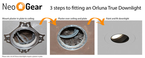 3 step image tutorial to fit orluna light fitting