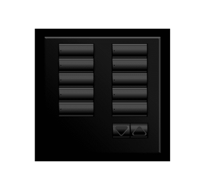 Black framed 10 button keypad from Lutron company