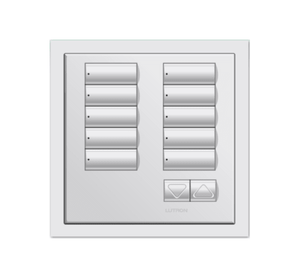 White framed 10 button keypad from Lutron company
