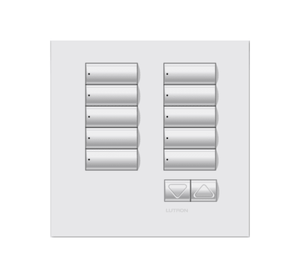 White non-framed 10 button keypad from Lutron company