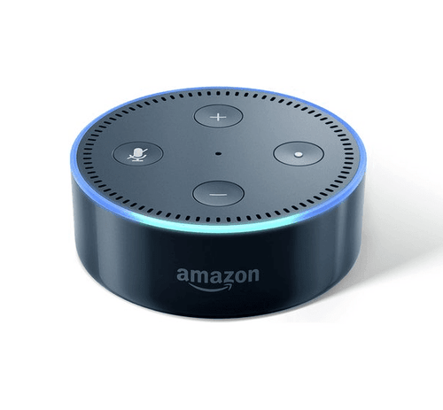 small black amazon echo dot from front