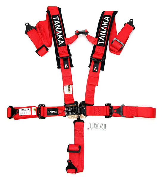 "Tanaka BLACK SERIES 2"" Latch and Link 5 Points Safety Harness Set with Ultra Comfort Heavy Duty Shoulder Pads (Red) - Tanaka Power Sport"