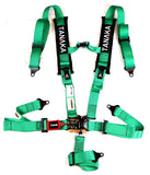 "Tanaka BLACK SERIES 2"" Latch and Link 5 Points Safety Harness Set with Ultra Comfort Heavy Duty Shoulder Pads (Green) - Tanaka Power Sport"