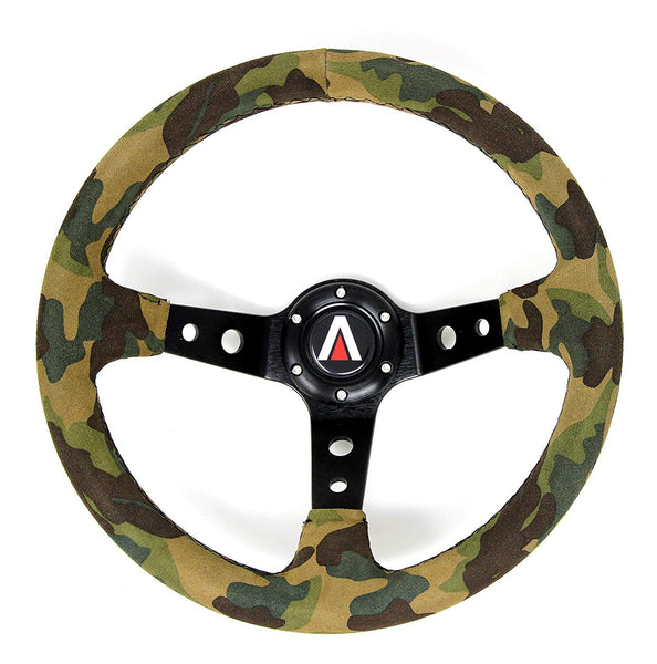 350mm Deep Dish Universal 6 Bolt Suede Leather Camouflage Steering Wheel (Camouflage) - Tanaka Power Sport