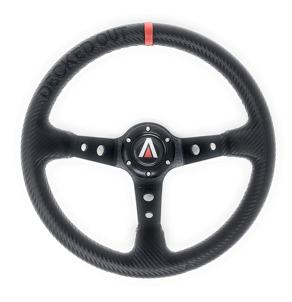 Decked Out Edition 350mm Deep Dish 6 Bolt PU Carbon Fiber Steering Wheel Red Line - Tanaka Power Sport