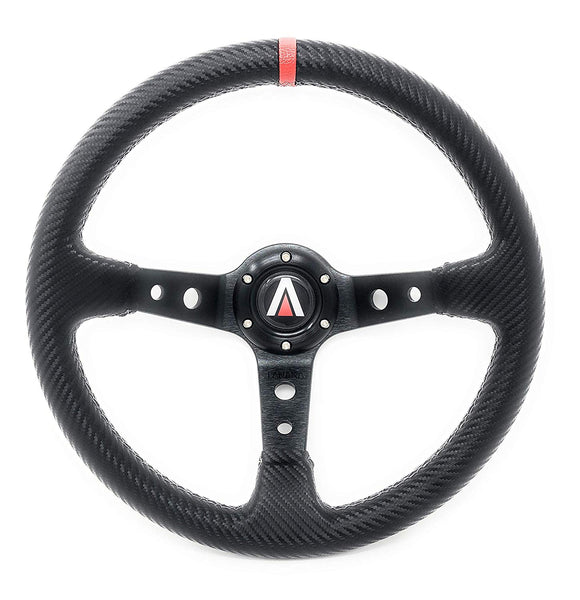 350mm Deep Dish 6 Bolt PU Carbon Fiber Steering Wheel Red Line (Black with Red Line) - Tanaka Power Sport