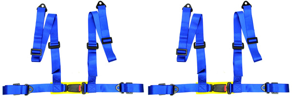 2 x Logo Free Universal Design 4-Point Buckle Sports Racing Harness Seat Belt (Blue) - Tanaka Power Sport