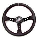 Decked Out Edition 350mm Deep Dish 6 Bolt PU Carbon Fiber Steering Wheel - Tanaka Power Sport