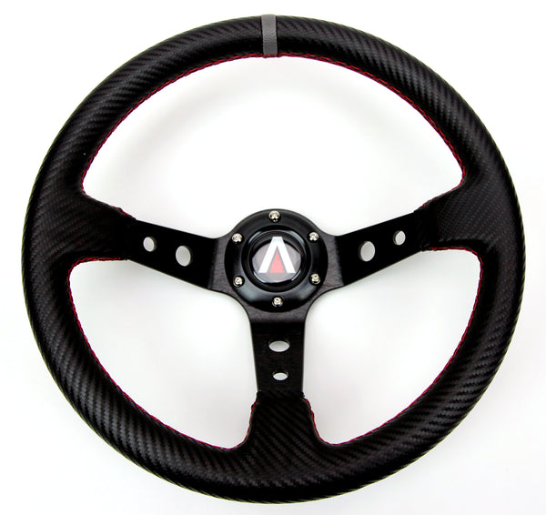 "350mm 3"" Deep Dish 6 Bolt PU Carbon Fiber Steering Wheel w/ Horn Button - Tanaka Power Sport"